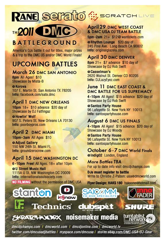 2011 DMC USA DJ Battle Tour flyer back