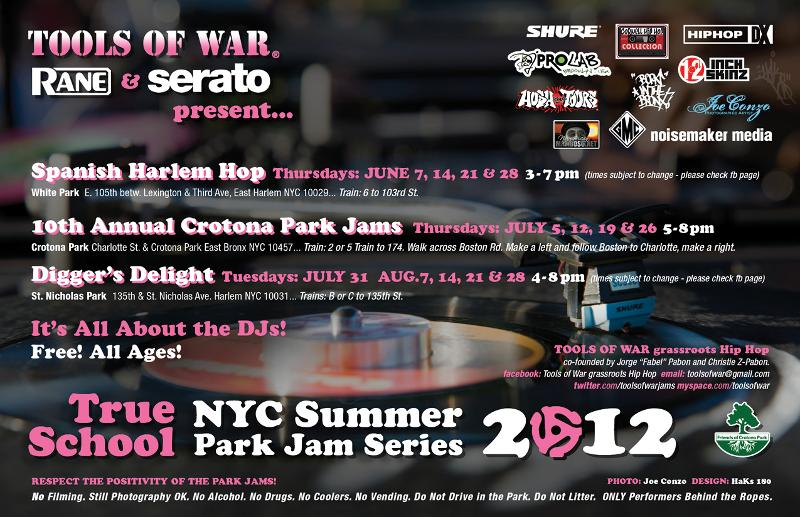 2012 Tools of War True School NYC Summer Park Jams flyer back