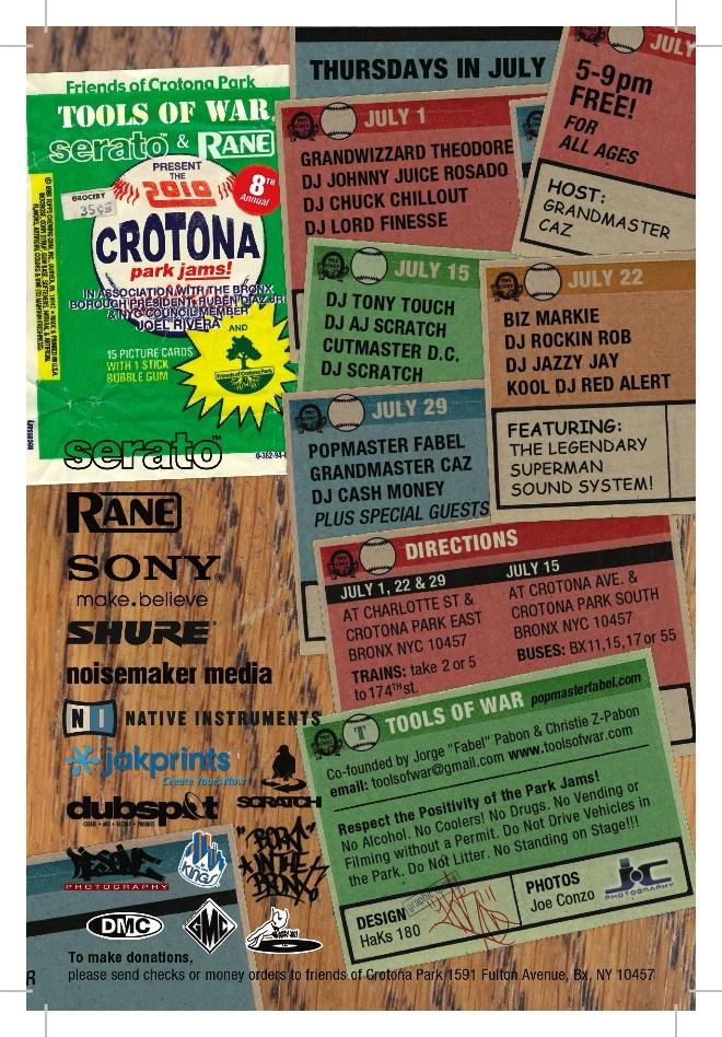 2010  Crotona Park Jams - Bronx NY July 1,   15, 22 & 29