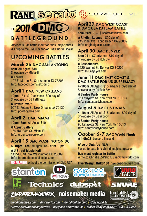 2011 DMC USA DJ Battle Tour flyer back